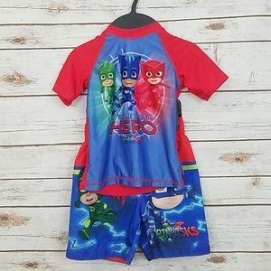 PJ Masks Rashguard Swim Shirt & Shorts Size 2T